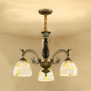 Tiffany Style Antique Dome Chandelier 3 Lights Glass Pendant Light in White for Bathroom