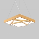 16/20.5/24.5 Inch Square Pendant Light Contemporary Acrylic Ceiling Light in War/White for Library