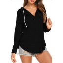 Hot Fashion Women's Solid Color V-Neck Drawstring Hood Long Sleeve Curved Hem Hoodie