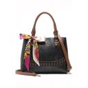Stylish Plain Silk Scarf Bow Tied Shoulder Handbag for Women 34*11*27 CM