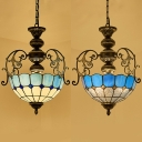 Glass Domed Shade Hanging Light 2 Lights Tiffany Style Vintage Carved Ceiling Lamp for Hallway