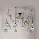 Restaurant Star Shade Pendant Light Stained Glass 10 Lights Tiffany Style Ceiling Light