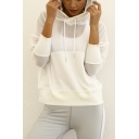 Women's Sport Mesh Patched Quick Drying Breathable Drawstring Hood Long Sleeve Hoodie