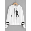 Stylish Women's Cartoon Cat Print Drawstring Hood Tape Stripe Patch Long Sleeve White Loose Fit Hoodie