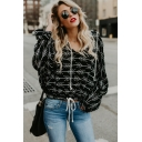 Women's Fashion Print Drawstring Hood Long Sleeve Casual Black Hoodie