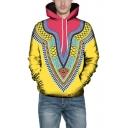 Colorblock 3D Tribal Print Long Sleeve Drawstring Hoodie with Pocket