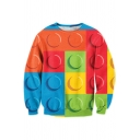 Men's Fashion Colorblock Geometric Button 3D Print Long Sleeve Pullover Sweatshirt