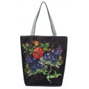 National Style Floral Fruit Pattern Black Canvas Shoulder Bag 27*11*38 CM
