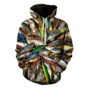 3D Allover Fish Printed Drawstring Long Sleeve Hoodie with Pocket