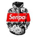 3D SENPAI Letter Comic Ahegao Figure Printed Black and White Long Sleeve Unisex Hoodie with Pocket
