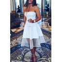 Sexy White Plain Off Shoulder Sleeveless Sheer Lace Patched Midi Bandeau A-line Dress