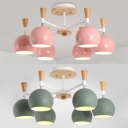 Green/Pink Globe Chandelier 6 Lights Modern Metal Ceiling Light for Adult Child Bedroom