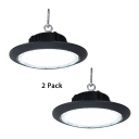 Aluminum Slim UFO Bay Lighting 1/2 Pack Commercial LED Hanging Lamp in Black for Showroom