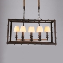 Restaurant Rectangle Island Fixture with Tapered Shade Glass 8 Lights Rust Pendant Lamp