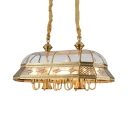 Antique Style Brass Island Fixture Candle 10 Lights Metal Pendant Lamp with Shade for Restaurant