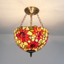 Tiffany Style Rustic Bowl Chandelier with Sunflower Stained Glass Pendant Lamp for Bedroom
