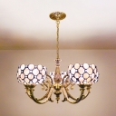 Dining Room Bowl Shade Chandelier Light Shell 5 Lights Vintage Style White Hanging Lamp