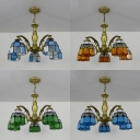 Tiffany Style Domed Pendant Lamp Blue/Clear/Green/Orange Glass 5 Lights Chandelier for Dining Room