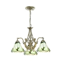 3 Lights Conical Pendant Light with Mermaid Decoration Rustic Style Glass Chandelier for Foyer