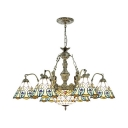 Stained Glass Peacock Tail Chandelier 7 Lights Vintage Style Hanging Lamp with Mermaid for Hotel