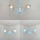 Traditional Cone Shade Pendant Light 3 Lights Blue/Clear/White Glass Chandelier with Clear Crystal