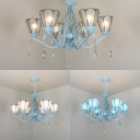 Tiffany Style Cone Chandelier with Crystal Blue/Clear/White Glass 6 Lights Hanging Lamp for Dining Room