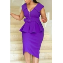 Women's V Neck Sleeveless Plain Zip Front Belt Waist Ruffle Fake Two Pieces Midi Peplum Pencil Dress