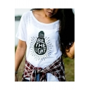 Be The Light Letter Printed Cotton Round Neck Short Sleeves Tee