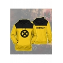 Comic TRAINEE Letter X Circle Printed Yellow Long Sleeve Drawstring Hoodie with Pocket