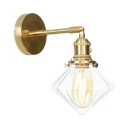 1/2 Pack 1 Light Wall Light Antique Style Metal Clear Glass Wall Lamp in Brass for Hallway