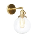 1/2 Pack Bathroom Globe Wall Light Clear Glass 1 Light Antique Style Brass Sconce Light
