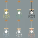Wire Frame Restaurant Pendant Light Metal Wood 1 Light Macaron Loft Ceiling Light
