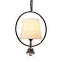 Tapered Shade Pendant Light Single Light Vintage Style Fabric Ceiling Light for Dining Room