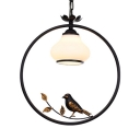 Curved Shade Living Room Suspension Light Metal 1 Light American Rustic Pendant Lamp with Bird