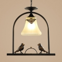 Frosted Glass Bell Shade Pendant Light 1 Light American Rustic Hanging Lamp with Bird for Balcony