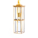 Colonial Style Rectangle Ceiling Light Glass Single Light Brass Hanging Light for Kitchen