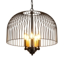 Metal Candle Suspension Light with Dome Cage Dining Room 5 Lights Traditional Chandelier in Black