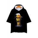 Cool Unique 3D Beer Pattern Short Sleeve Hooded Relaxed Fit Black Tee