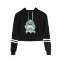 Lovely HAPPY BIRTHDAY Grumpy Cat Print Striped Long Sleeve Relaxed Cropped Hoodie