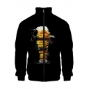 Mens Cool Unique 3D Beer Printed Stand Collar Long Sleeve Black Zip Jacket