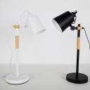 Metal Bucket Shade LED Desk Lamp 1 Light Simple Style Rotatable Study Light in Black/White for Bedroom