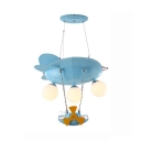 Airplane Kindergarten Suspension Light Metal Frosted Glass 3 Lights Lovely Suspension Light in Blue