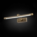 Tube Bathroom LED Vanity Light Acrylic 16/21.5/27.5 Inch Anti-fogging Antique Brass Wall Lamp with White Lighting