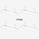 1/4 Pack Rectangle LED Hanging Light Simple Style Slim Ceiling Light in White for Meeting Room