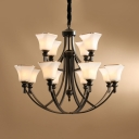 White Bell Shade Chandelier Light 12 Lights American Rustic Metal Hanging Light for Villa Hotel