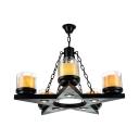 Metal Star Candle Pendant Lamp Restaurant Hallway 5 Lights Traditional Chandelier in Black