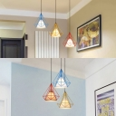 Industrial Diamond Cage Ceiling Light Metal 3 Lights Linear/Round Canopy Suspension Light for Kitchen