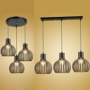 Antique Style Melon Cage Hanging Lamp Metal 3 Lights Black Suspension Light with Linear/Round Canopy for Bar