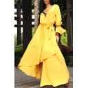 Women's Elegant Plunge Neck Long Sleeve Plain V-Back Bow-Tied Waist Maxi Asymmetric Yellow Dress