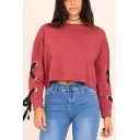Pink Plain Round Neck Lace Up Bow Tie Long Sleeve Cropped Pullover Sweatshirt